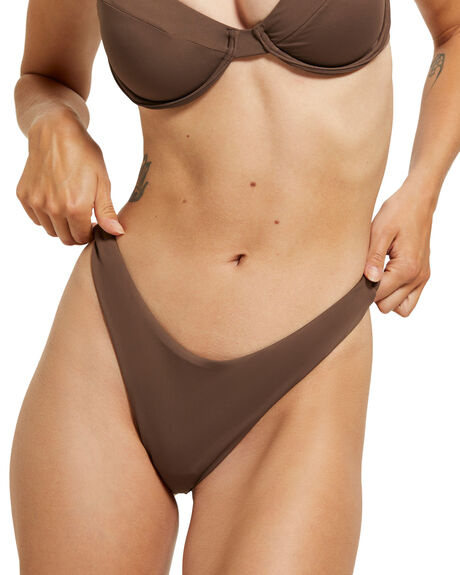 CHOCOLATE BROWN WOMENS SWIMWEAR SUBTITLED BIKINI BOTTOMS - 39068600030