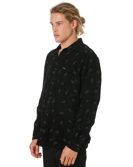 BLACK MENS CLOTHING RVCA SHIRTS - R393203BLK
