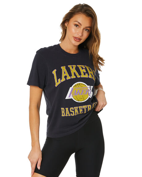 FADED BLACK WOMENS CLOTHING MITCHELL AND NESS TEES - MNLL0065FBLK