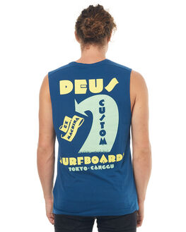 DARK BLUE MENS CLOTHING DEUS EX MACHINA SINGLETS - DMS71902DBLU