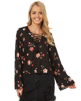 BLACK GARDEN PRINT WOMENS CLOTHING ALL ABOUT EVE FASHION TOPS - 6401040PRNT