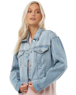 BLUE DENIM WOMENS CLOTHING STUSSY JACKETS - ST185700BLUDE