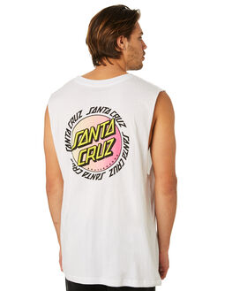WHITE MENS CLOTHING SANTA CRUZ SINGLETS - SC-MTD8027WHT
