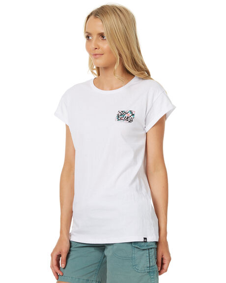 WHITE WOMENS CLOTHING RIP CURL TEES - GTEZZ31000