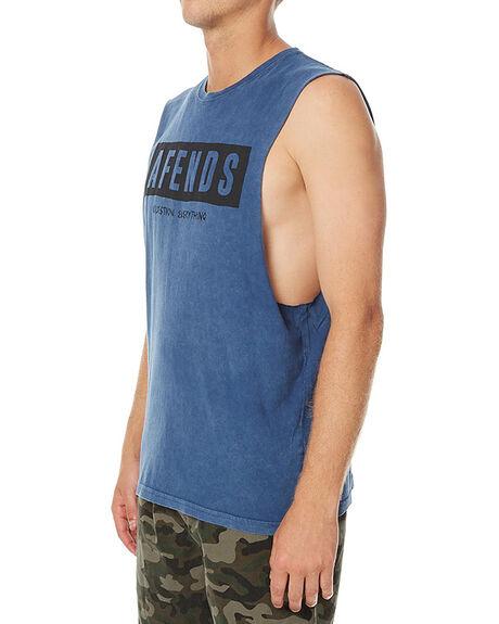 AZUL ACID WASH MENS CLOTHING AFENDS SINGLETS - 01-08-005AAWSH