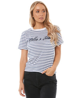 BLUE STRIPE WOMENS CLOTHING ROLLAS TEES - 12536BLUE
