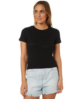 BLACK WOMENS CLOTHING ALL ABOUT EVE TEES - 6423014BLK