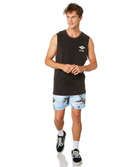 WASHED BLACK MENS CLOTHING RIP CURL SINGLETS - CTEQL28264