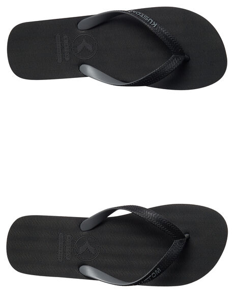 BLACK MENS FOOTWEAR KUSTOM THONGS - 4977204ABLK