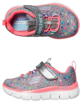 GREY MULT KIDS TODDLER GIRLS SKECHERS FOOTWEAR - 81672NGYMT