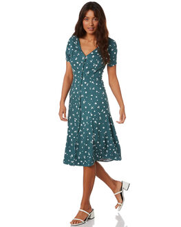 TEAL DITSY WOMENS CLOTHING ALL ABOUT EVE DRESSES - 6453066TDIT