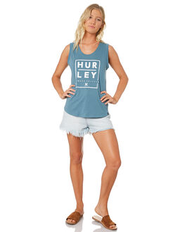 CELESTIAL TEAL WOMENS CLOTHING HURLEY SINGLETS - AGSISCH-403