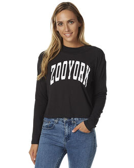 BLACK WOMENS CLOTHING ZOO YORK TEES - ZY-WLA7157BLK