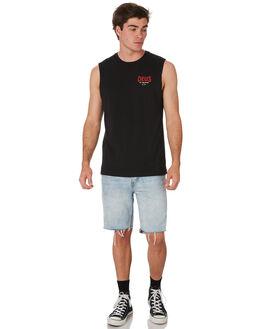 BLACK MENS CLOTHING DEUS EX MACHINA SINGLETS - DMP91138ABLK