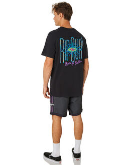 WASHED BLACK MENS CLOTHING RIP CURL TEES - CTERW20090