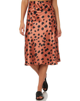 TERRACOTTA LEOPARD WOMENS CLOTHING TROUBLE LOVES COMPANY SKIRTS - T8188472LATTE