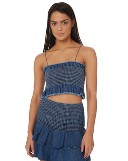 DENIM BLUE WOMENS CLOTHING RVCA FASHION TOPS - R282183DBLU