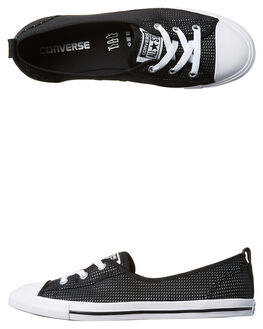 BLACK WHITE WOMENS FOOTWEAR CONVERSE SNEAKERS - 555894BLK