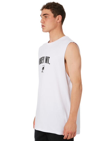 WHITE MENS CLOTHING OBEY SINGLETS - BY088000WHT