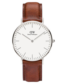 SILVER BROWN WOMENS ACCESSORIES DANIEL WELLINGTON WATCHES - DW00100052BRWN