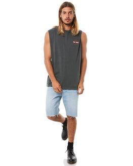 MERCH BLACK MENS CLOTHING THRILLS SINGLETS - TH8-108MBMBLK