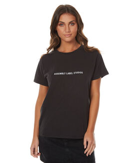 WORN BLACK WOMENS CLOTHING ASSEMBLY TEES - AW-W217104WBLK