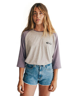 PURPLE ASH HEATHER WOMENS CLOTHING QUIKSILVER TEES - EQWKT03004-XPSS