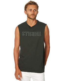 DARK OLIVE MENS CLOTHING THRILLS SINGLETS - TA7-102FDOLI