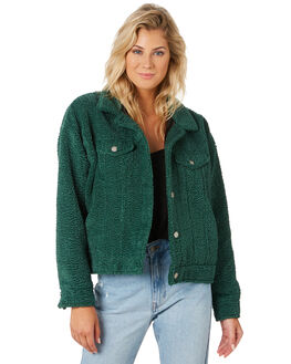 DEEP GREEN WOMENS CLOTHING DR DENIM JACKETS - 1931109311DGRN