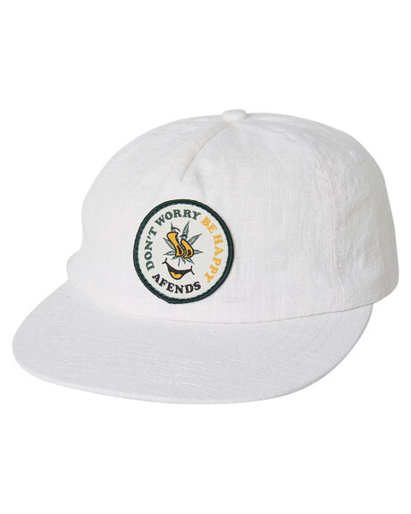 WHITE MENS ACCESSORIES AFENDS HEADWEAR - A191601WHT
