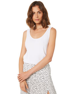 WHITE WOMENS CLOTHING ZULU AND ZEPHYR SINGLETS - ZZ2201WHT