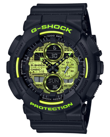 BLACK YELLOW MENS ACCESSORIES G SHOCK WATCHES - GA140DC-1ABKYEL