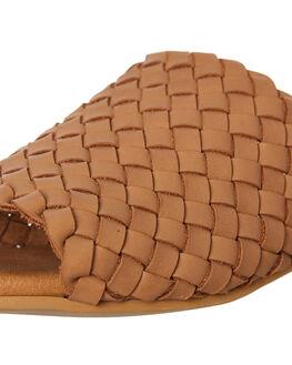 TAN LEATHER WOMENS FOOTWEAR WALNUT SLIDES - VIENNASLIDETLTR