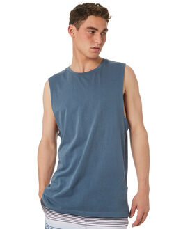 CHINA BLUE MENS CLOTHING RVCA SINGLETS - R181013CBLU