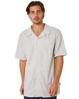 GREY WHITE STRIPE MENS CLOTHING RPM SHIRTS - 8SMT13BGRYWH