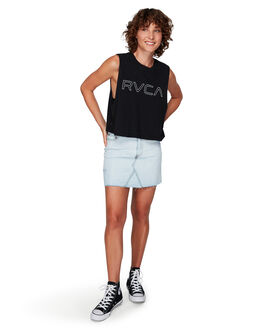 BLACK WOMENS CLOTHING RVCA SINGLETS - RV-R282004-BLK