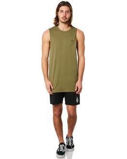 VINTAGE GREEN MENS CLOTHING VOLCOM SINGLETS - A3731624VYG