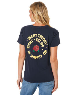 NAVY WOMENS CLOTHING SILENT THEORY TEES - 6033037-NAVY