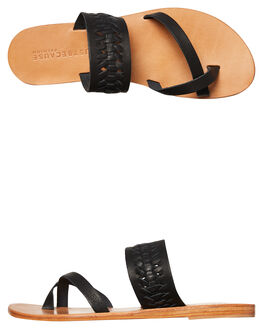 BLACK WOMENS FOOTWEAR JUST BECAUSE FASHION SANDALS - SOLE1187BLACK