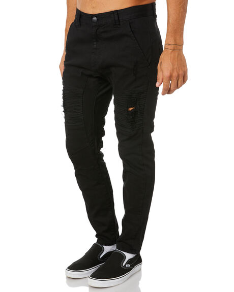 BLACK MENS CLOTHING NENA AND PASADENA JEANS - NPMSFP002BLCK