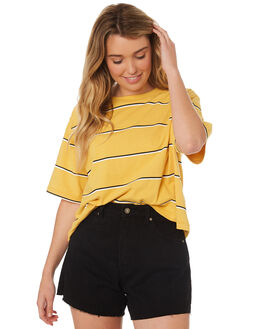 LIGHT YELLOW WOMENS CLOTHING RIP CURL TEES - GTEZK14094