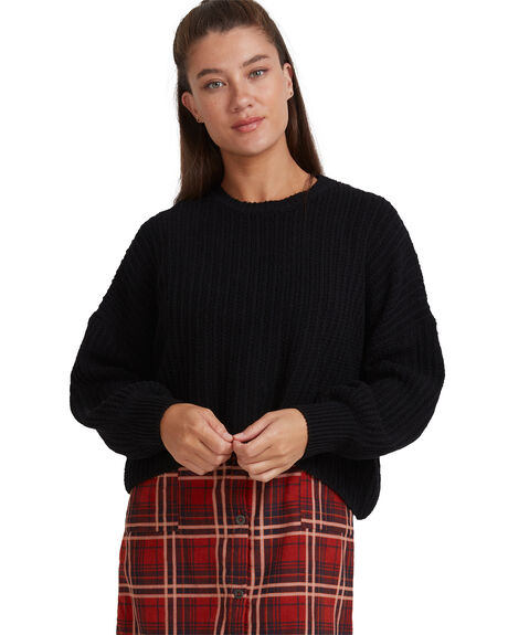 BLACK WOMENS CLOTHING RVCA HOODIES + SWEATS - RV-R417361-BLK