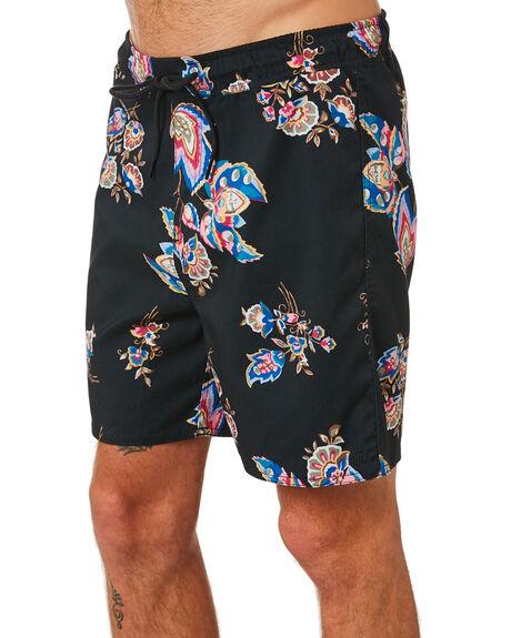 BLACK PURPLE MENS CLOTHING BRIXTON BOARDSHORTS - 04221BLKPR