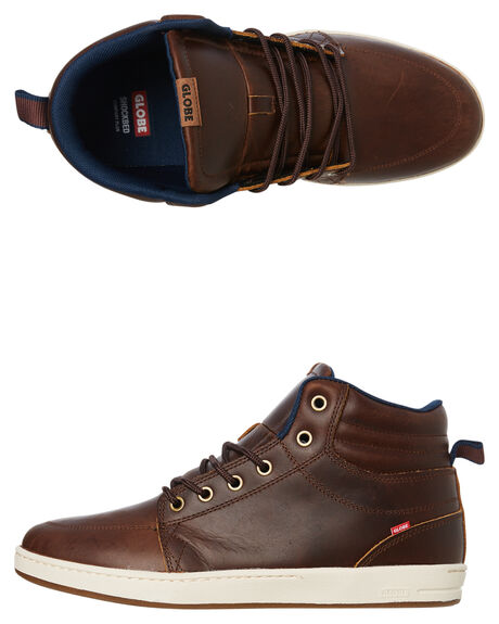 BROWN LEATHER MENS FOOTWEAR GLOBE BOOTS - GBGSBOOT17209