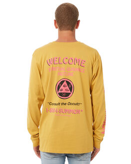 MUSTARD YELLOW MENS CLOTHING WELCOME TEES - HLINELSMUST