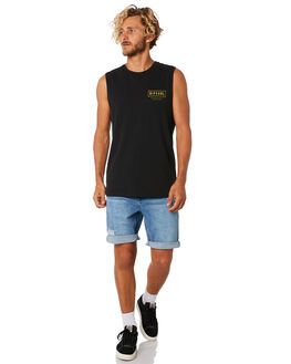 WASHED BLACK MENS CLOTHING RIP CURL SINGLETS - CTESQ28264