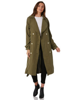 DEEP OLIVE WOMENS CLOTHING NUDE LUCY JACKETS - NU23526DOLI