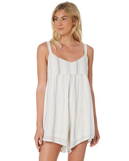 WHITE BLUE STRIPE WOMENS CLOTHING SAINT HELENA PLAYSUITS + OVERALLS - SHS19117WHTBL