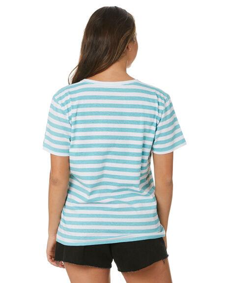 LIGHT TEAL WOMENS CLOTHING HURLEY TEES - HAGTSS21STHLTEL