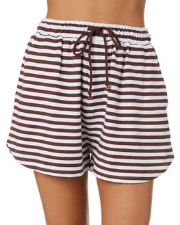 BROWN STRIPE WOMENS CLOTHING SWELL SHORTS - S8202235BRN